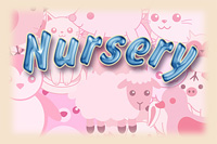 Nursery Logo Text with cute little pink animals